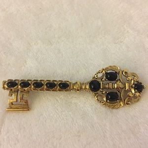 Vintage Monet Skeleton Key Brooch